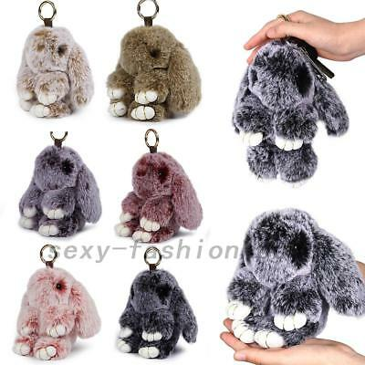 Adorable Fur Bunny Fluffy Rabbit Keyring Bag Charm Pendant Keychain Phone Car AU