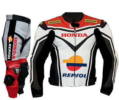 Repsol Men Leather Suit Motorbike Leather Suit Motorcycle Leather Jacket Pant