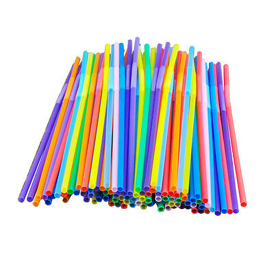 100PCS Drinking Straws Party Bar Drinking Supplies Extra Long Flexible Plastic