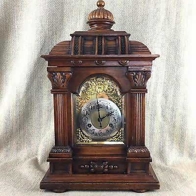 Antique Victorian Bracket Clock Oak Cased Ornate Working Order