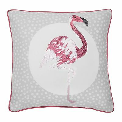 Catherine Lansfield Flamingo Cushion Cover Grey 43 x 43cm