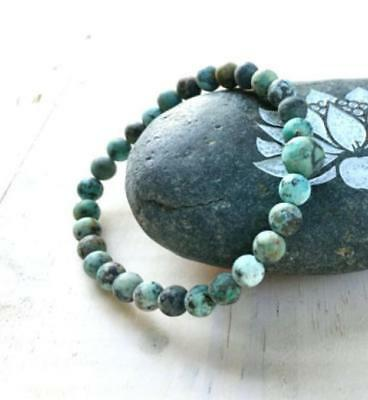 African Turquoise Mala Bracelet lucky beads men pray buddhist yoga meditation