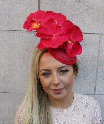 Red Sinamay Orchid Flower Fascinator Pillbox Hat Cocktail Races Hair Clip 5164