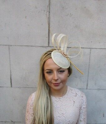 Beige Cream Gold Sinamay Quill Feather Pillbox Hat Fascinator Races Ascot 5166