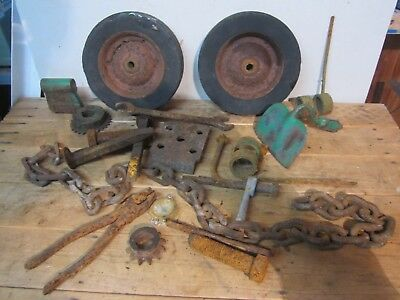 Lot 21 Old Rusty Parts Tools Wheels Gears RR Spikes Chain Iron Steampunk Scrap