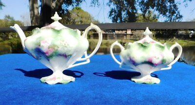 Vintage Nippon[?] Unmarked Hand Painted Sugar Bowl and Creamer set W/Gilded Edge