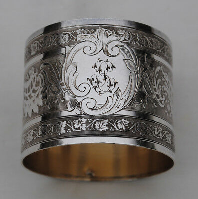Antique French Sterling Silver Napkin Ring Guilloche & Floral Engraved Details
