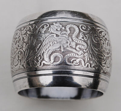 Antique French Sterling Silver Napkin Ring Snake & Griffin Neoclassic Details