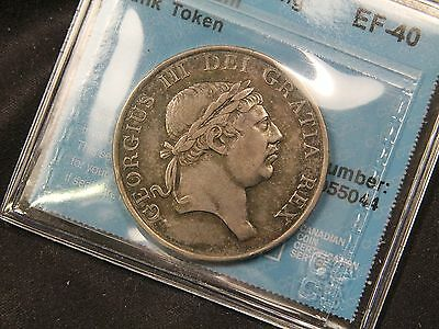 1812 Great Britain 3 Shilling Silver Bank Token. EF-40 CCCS Certified. Nice tone