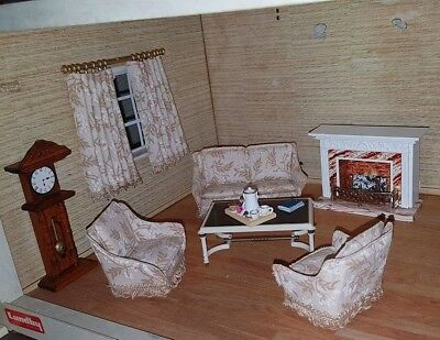 VINTAGE DOLLS HOUSE FURNITURE. Lundby Complete Living Room 1:16 Scale.