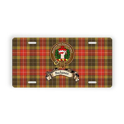 Buchanan Scottish Clan Old Tartan Auto Plate with Crest and English Motto