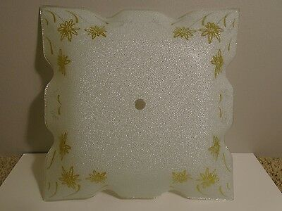 """Vintage NOS 11"""" Square Frosted White Glass Gold Flower Ceiling Light Cover Shade"""