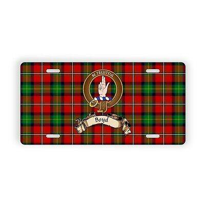 Boyd Scottish Clan Tartan Novelty Auto Plate with Crest and English Motto