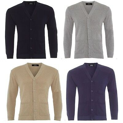 MENS PLAIN KNIT V NECK BUTTONED CARDIGAN FINE KNITWEAR COTTON WARM TOPS S TO 4XL