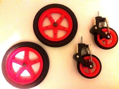 Bugaboo Cameleon 3 Limited Edition 'Neon' Red Wheels - Set 4 Front & Rear