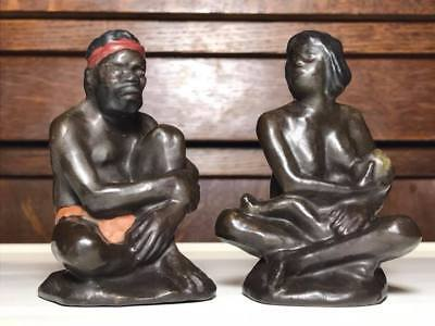 Antique Darbyshire Aboriginal figurine set  rare nursing mother/tribal elder