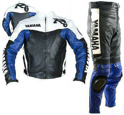 Men Leather Suit Motorbike Leather Suit Motorcycle Leather Racing Jacket Pant