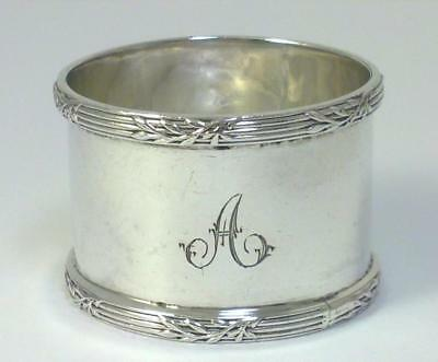 Vintage hallmarked Sterling Silver Napkin Ring inscribed 'A' – 1920  (33g) – {2}