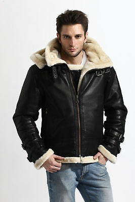 WWII Aviator B3 Bomber Military Faux Fur Black Pilot Leather Jacket for Mens