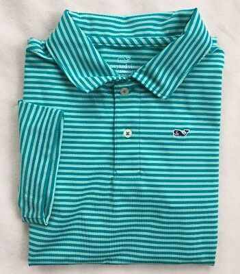 VINEYARD VINES Boys Performance Polo Shirt Blue Stripe NWT $49 6 SMALL LARGE XL