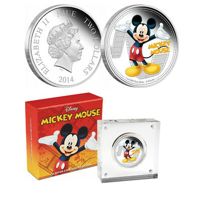 2014 Disney Mickey & Friends Mickey Mouse 1 Oz Silver Proof Niue $2 Coin