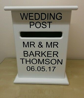 Same Sex Post Box Wedding  Card Holder Wooden Engraved Gay Mr & Mr Mrs & Mrs