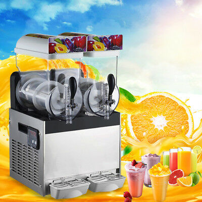 Frozen Drink Slush Slushy Make Machine Smoothie Maker 2 Tank Ice Commercial New.