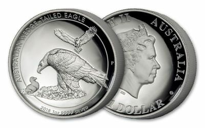 2018 Australia Wedged-Tailed Eagle 1 oz .9999 Silver HR Proof Coin W/Box & COA