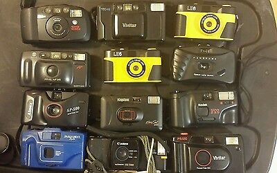 Lot Of 12 Assorted Point And Shoot Cameras Untested - Estate Lot