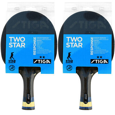 2pc Stiga Response 2 Star Table Tennis Bat Ping Pong Racket Paddle Rubber Blk/Rd