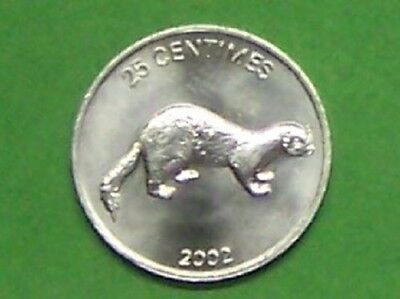 """Congo   2002  25 Centimes """"weasel"""" Km76  Uncirculated"""