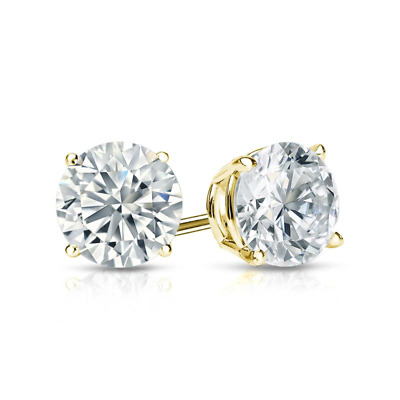 2 Ct Diamond Stud Earrings Round Diamond Solitaire Earrings 14k Yellow Gold