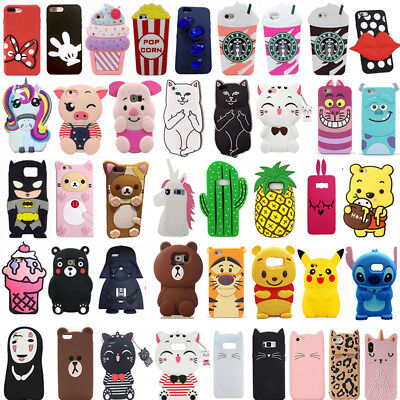 For Samsung Note 3/4/5/8/9 Cute 3D Cartoon Hot New Soft Silicon Phone Case Cover