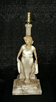 STUNNING ANTIQUE CARVED ALABASTER MARBLE ART DECO LAMP Italian Figural Italy