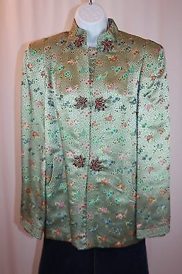 Vintage L/12? Ying Tai Co.Hong Kong Seafoam Green 100% Silk Brocade Swing Jacket