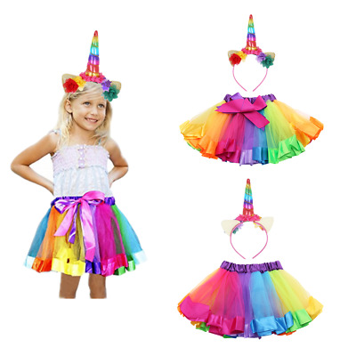 Girls Princess Tutu Skirt Unicorn Hair Hoop Ruffled Rainbow Dance Costumes Dress