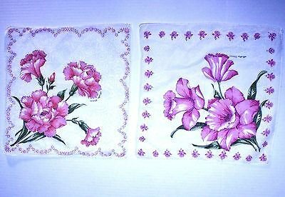"""Lot of 2 Vintage Cotton RN14193 Hankies Pink Carnations & Daffodils 12"""" x 12"""""""