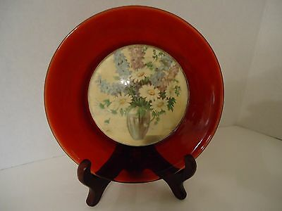 """Antique 20's Ruby Glass Plate With Convex Dome Floral Center  6"""""""