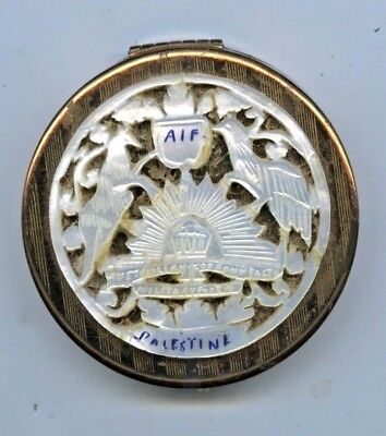 Ww2 Powder Compact Aif Mother Pearl Palestine Rising Sun /arms Saust Soldier Z91