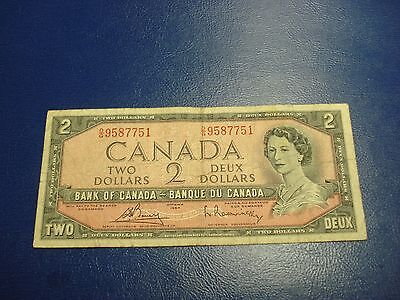 1954 - Bank of Canada $2 note - two dollar bill - DG9587751