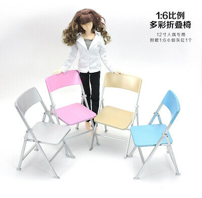 """4 Colors 1/6 Scale Plastic Folding Chair Model DIY Scenery For 12"""" Action Figure"""