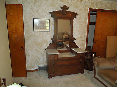 Antique Eastlake 19Th Century Walnut Marble Top Dresser W/ Large Dressing Mirror