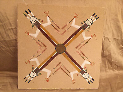 """Navajo Native American Indian Sand Art Paintings Signed By Artist 13"""" x 13"""""""
