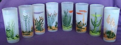 Vintage Blakely Gas & Oil Frosted Arizona Cactus Tall Glass Set of 8 16oz Glasse