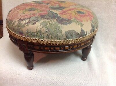 Antique French Ornate Carved Wood Footstool
