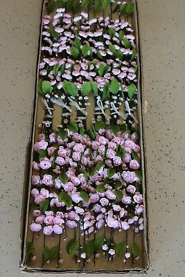 "#122 Artificial Silk 28"" Cherry Blossom Branch with Leaf Pink 24 Pieces"