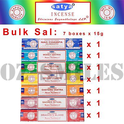 FRESH Nag Champa Satya Incense Sticks 15g x 7 Boxes Mixed Variety Pack
