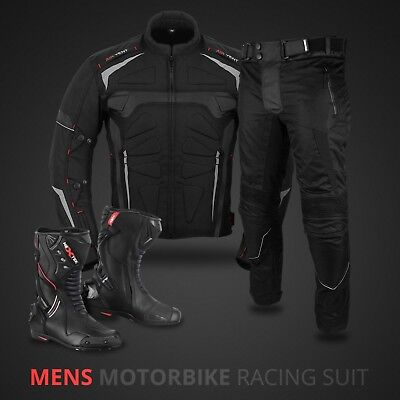 Black Motorbike Motorcycle Suit Waterproof Jacket Trouser Biker Leather Boot New