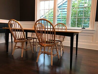 Drexel American Themes Rectangle Dining Table, Windsor Chairs, and Sideboard