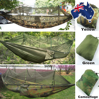 Double Hammocks Jungle Camping Hiking Hammock with Mosquito Bug Net + Carry Bag